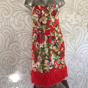 Peter Som Strapless print cotton / Lycra dress